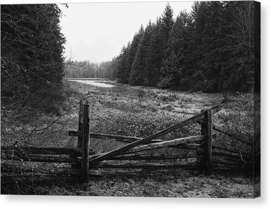 The Gate In Black And White Canvas Print