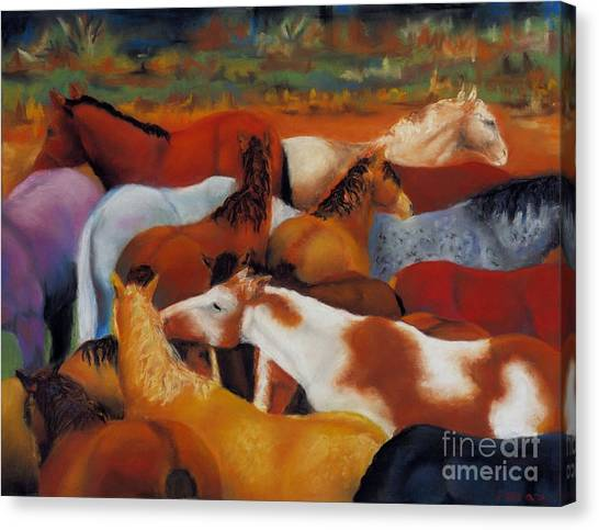 Abstract Horse Canvas Print - The Gathering by Frances Marino