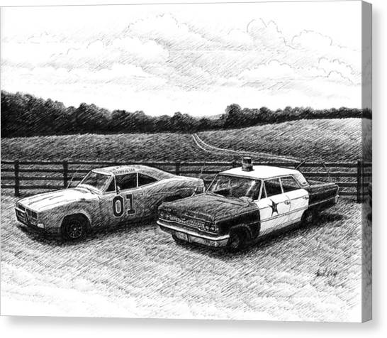 The General Lee And Barney Fife's Police Car Canvas Print