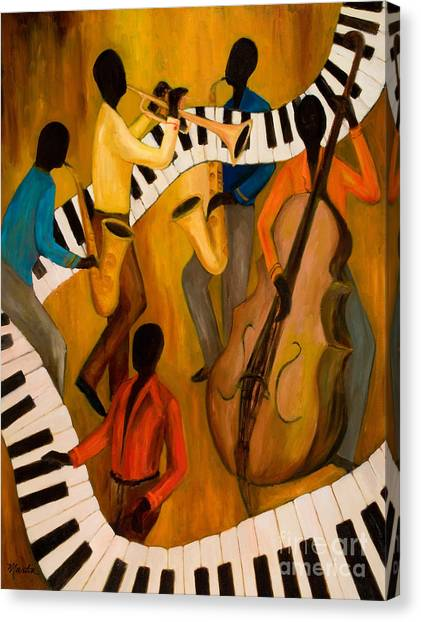 Electronic Instruments Canvas Print - The Get-down Jazz Quintet by Larry Martin