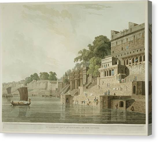 Ganges Canvas Print - The Ghats By The River Ganges by British Library