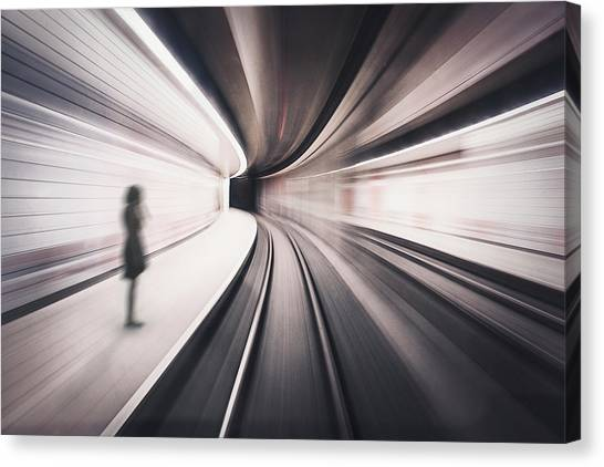 Tunnels Canvas Print - The Girl Of The Metro Station by David Krischke