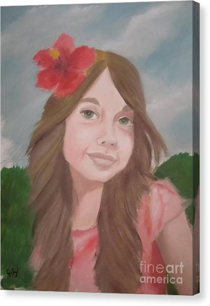 The Girl With The Red Flower II Canvas Print by Angela Melendez