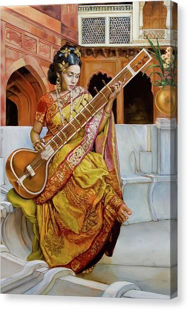 Fine Art India Canvas Print - The Girl With The Sitar by Dominique Amendola