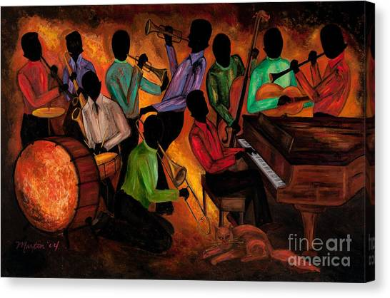 Percussion Instruments Canvas Print - The Gitdown Hoedown by Larry Martin
