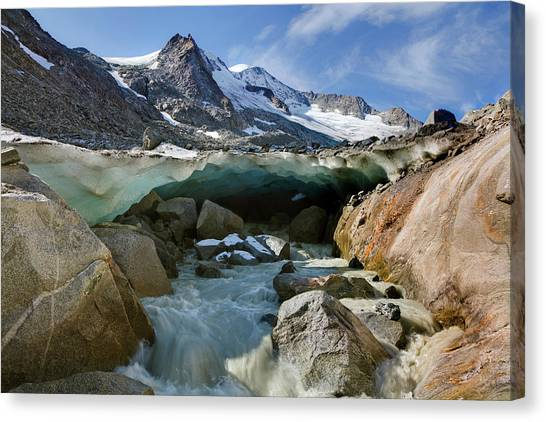Climate Change Canvas Print - The Glacier Snout With Ice Cave by Martin Zwick