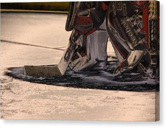 Hockey Players Canvas Print - The Goalies Crease by Karol Livote