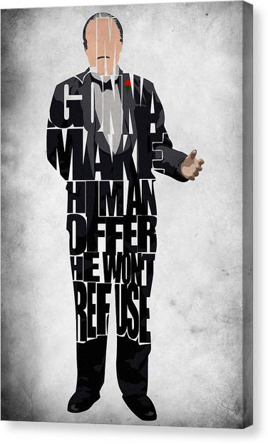 The Godfather Inspired Don Vito Corleone Typography Artwork Canvas Print