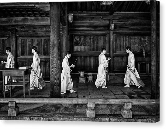 Temples Canvas Print - The Going And The Being Back Of A Monk In The Sweeping Of The Temple (tokio) by Joxe Inazio Kuesta