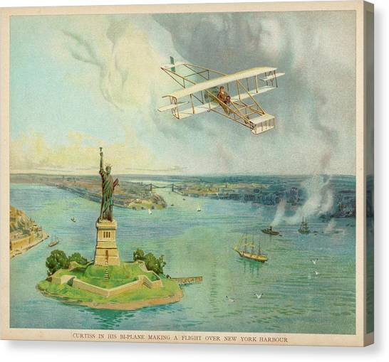 The 'gold Bug' Biplane  Designed Canvas Print by Mary Evans Picture Library