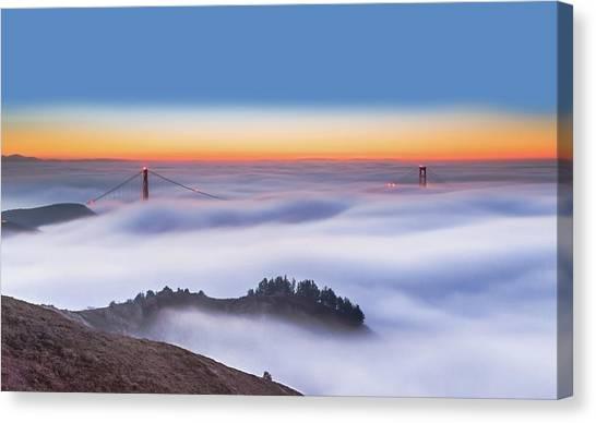 Gates Canvas Print - The Golden Gate Bridge In The Fog by Jenny Qiu