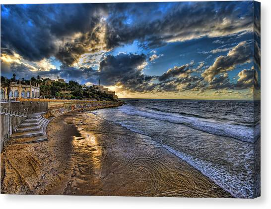 the golden hour during sunset at Israel Canvas Print