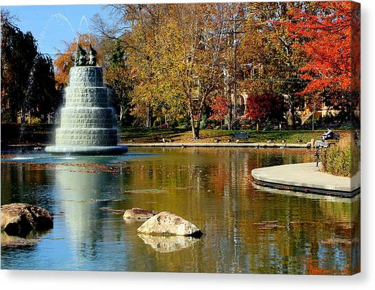 The Goodale Park  Fountain Canvas Print