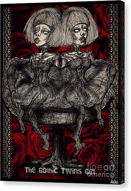 The Gothic Twin Girls Canvas Print