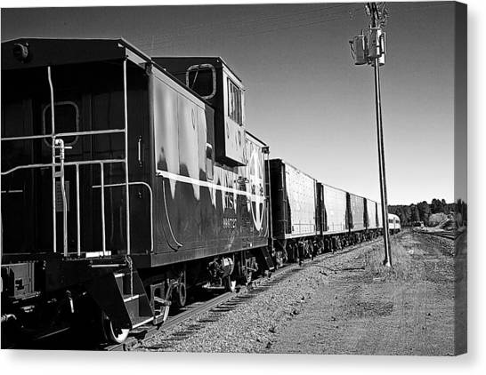 The Grand Canyon Express 2 Black And White Canvas Print
