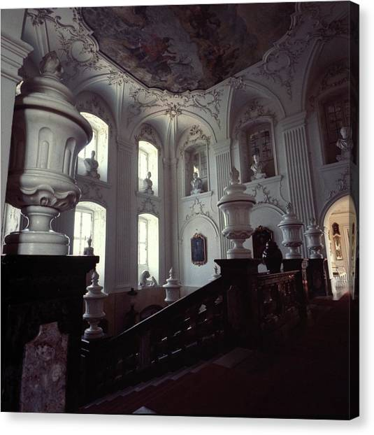 The Grand Staircase At Schloss Fasanerie Canvas Print
