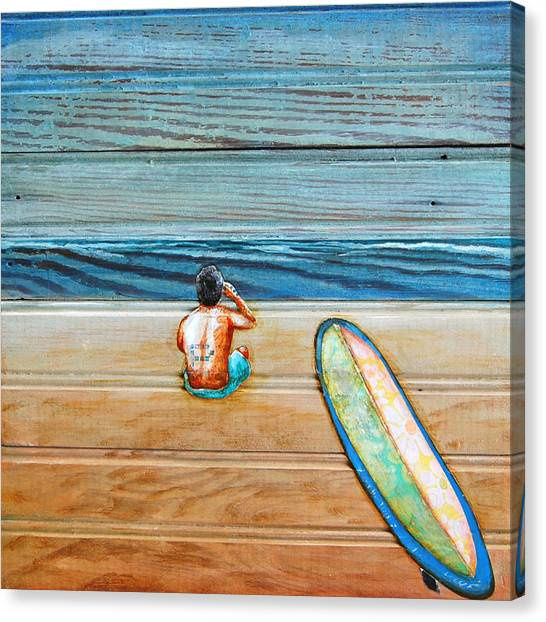 Surfboard Canvas Print - The Great Beyond by Danny Phillips