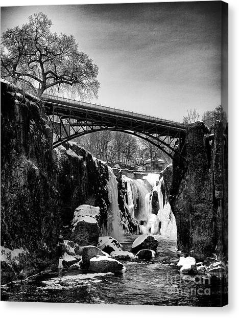 The Great Falls Of Paterson In Black And White Canvas Print