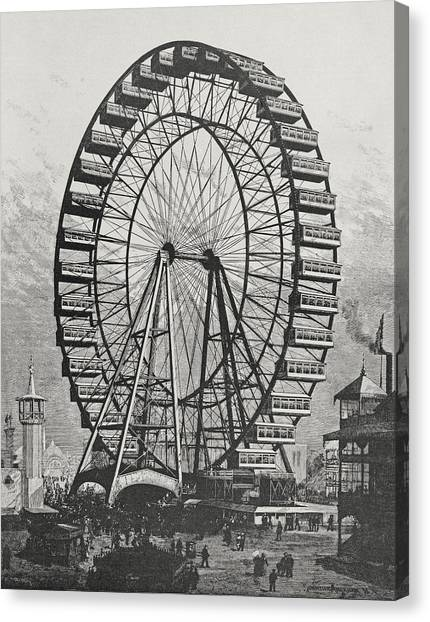Ferris Wheel Canvas Print - The Great Ferris Wheel In The World Columbian Exposition, 1st July 1893 by American School