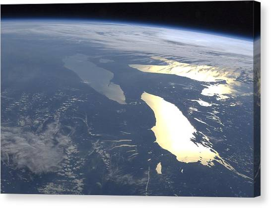 June Lake Canvas Print - The Great Lakes, Iss Image by Science Photo Library