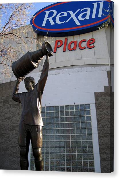 Edmonton Oilers Canvas Print - The Great One by Betty-Anne McDonald
