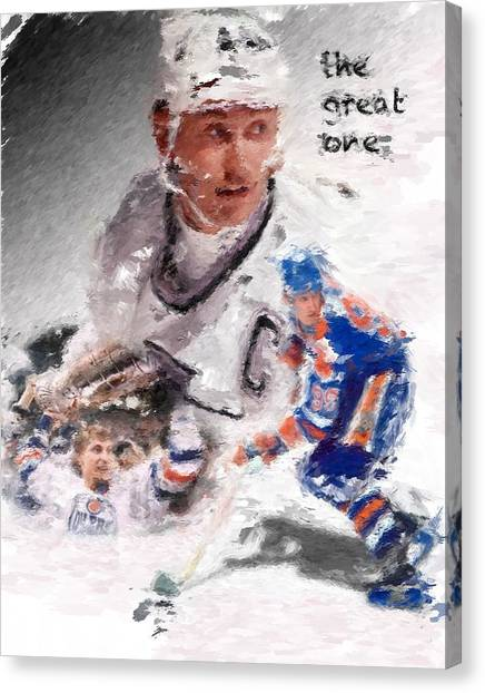 Wayne Gretzky Canvas Print - The Great One by Brian Menasco