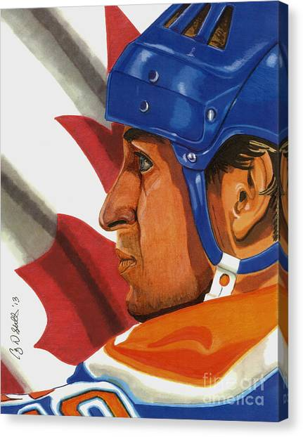 Edmonton Oilers Canvas Print - The Great One by Cory Still