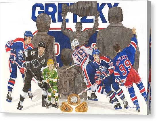 Wayne Gretzky Canvas Print - The Great One by Ronald Wilkie