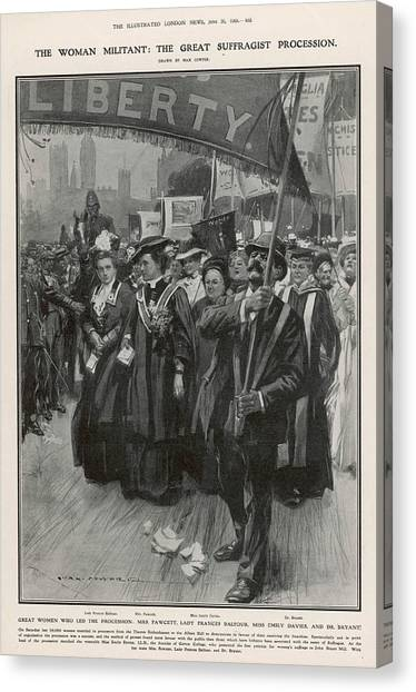 Womens Rights Canvas Print - The Great Suffragist Procession - Led by  Illustrated London News Ltd/Mar