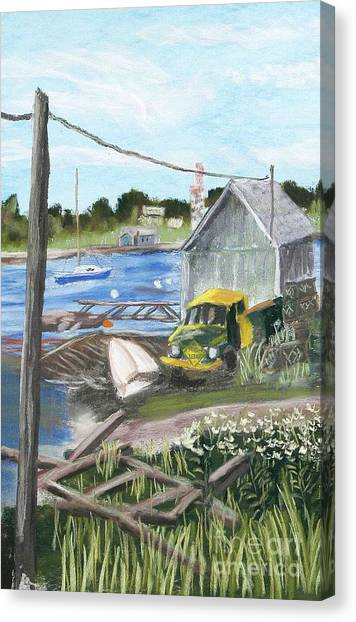 The Green And Yellow Truck Canvas Print