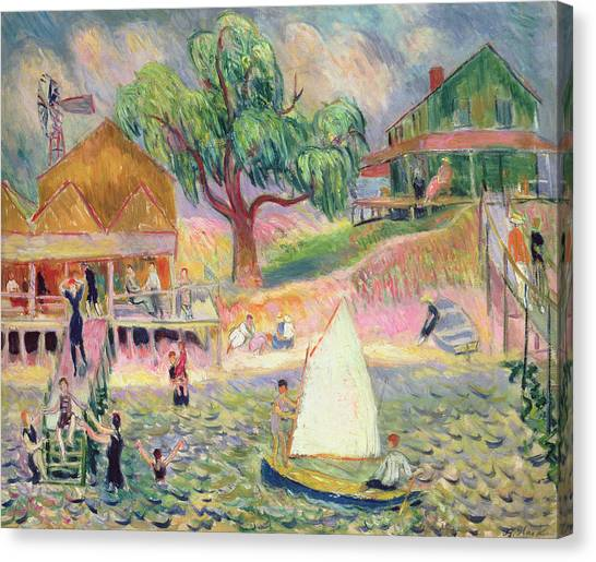 Weeping Willows Canvas Print - The Green Beach Cottage by William James Glackens