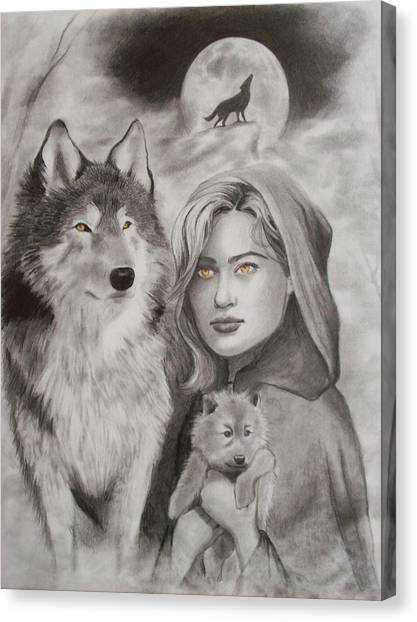 Wolf Moon Canvas Print - The Guardian  by Amber Stanford