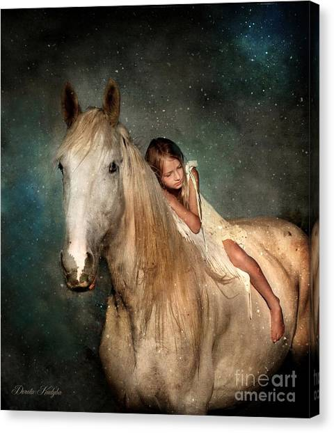 Draft Horses Canvas Print - The Guardian Angel by Dorota Kudyba