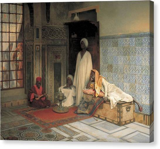 Moroccan Canvas Print - The Guards Of The Harem  by Ludwig Deutsch