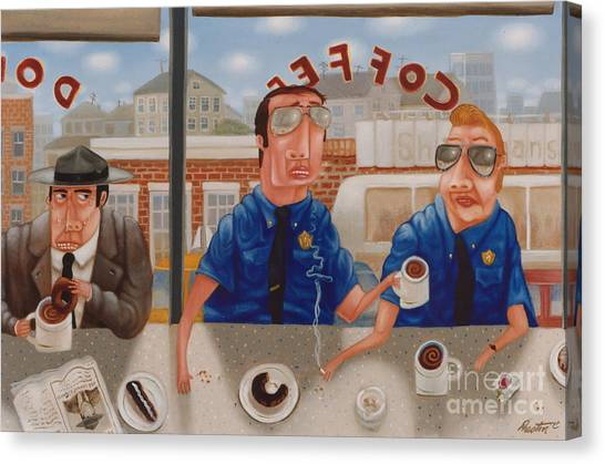Coffee Shops Canvas Print - The Guilty Guy 1993 by Lawrence Preston