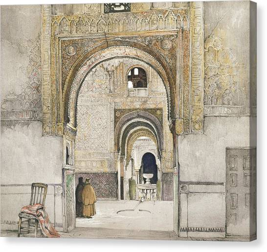 Moorish Canvas Print - The Hall Of The Two Sisters by John Frederick Lewis