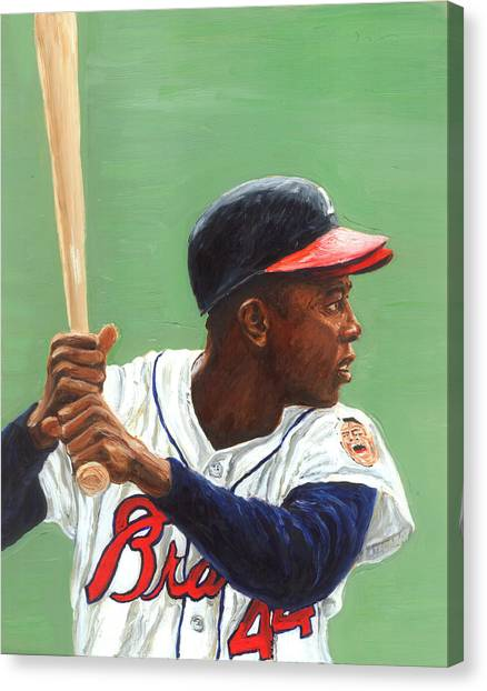 Atlanta Braves Canvas Print - The Hammer by Rudy Browne