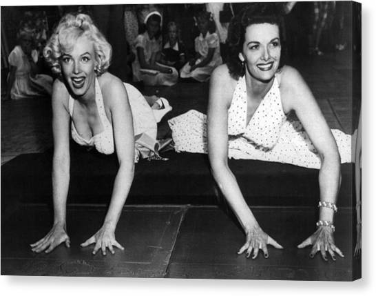 Monroe Canvas Print - Marilyn Monroe And Jane Russell  by Retro Images Archive