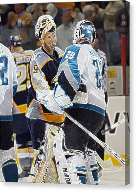 San Jose Sharks Canvas Print - The Handshake by Don Olea