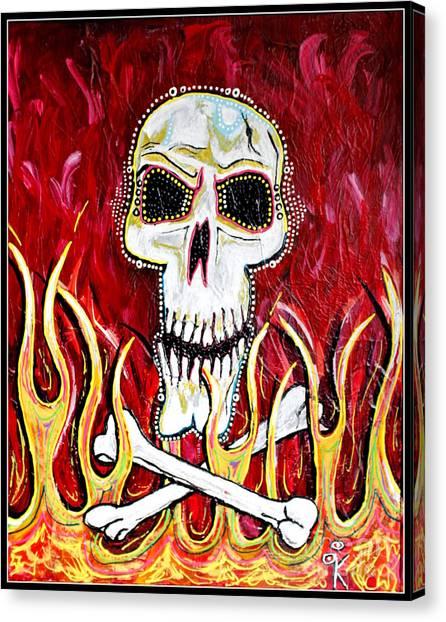 The Happy Skull Canvas Print by Kip Krause