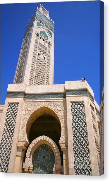 The Hassan II Mosque Grand Mosque With The Worlds Tallest 210m Minaret Sour Jdid Casablanca Morocco Canvas Print