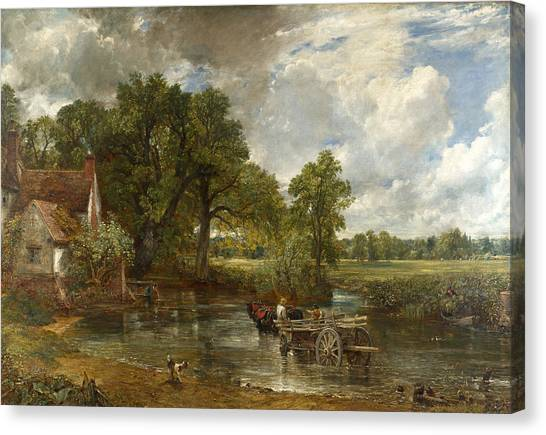 Canvas Print featuring the painting The Hay Wain by John Constable