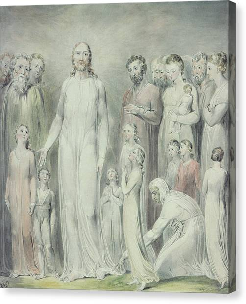 Sick Canvas Print - The Healing Of The Woman With An Issue Of Blood by William Blake