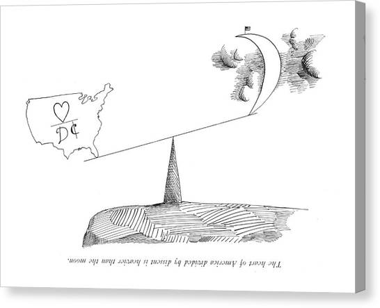 Under The Moon Canvas Print - The Heart Of America Divided By Dissent by Saul Steinberg
