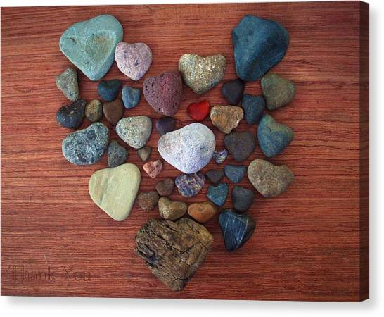Red Rock Canvas Print - The Heart Of Rock And A Reminder To Utter The Words Thank You. by Raenell Ochampaugh