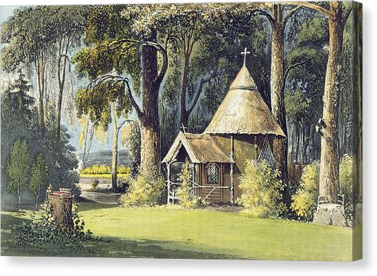 House Of Worship Canvas Print - The Hermitage, From Ackermanns by John Gendall