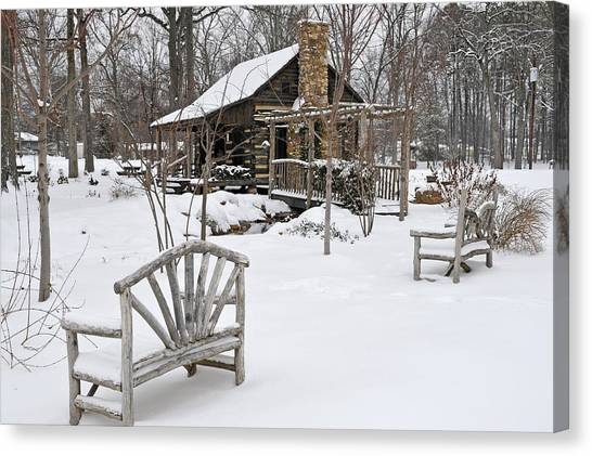 The Historic Gosnell Log Cabin After A Snowfall  Mauldin Sc Canvas Print
