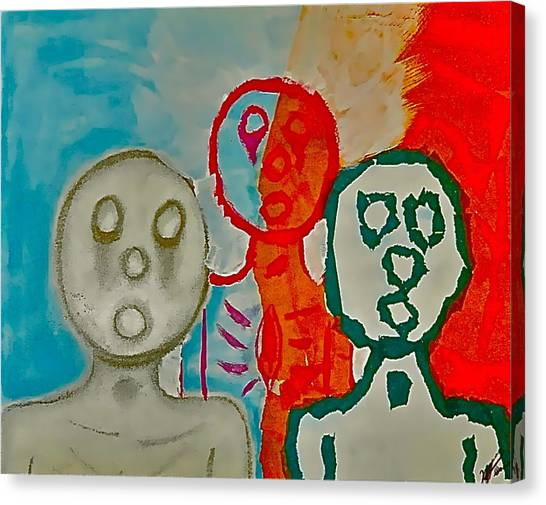 The Hollow Men 88 - Study Of Three Canvas Print