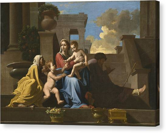Orange Tree Canvas Print - The Holy Family On The Steps by Nicolas Poussin