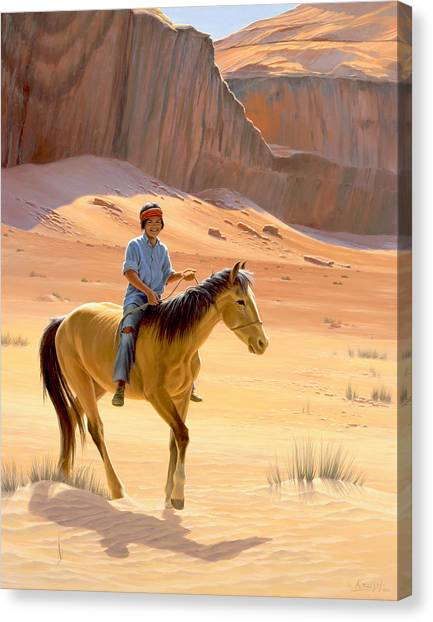 Boy Canvas Print - The Horseman by Paul Krapf